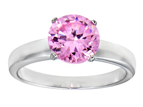 3.40ct Cubic Zirconia Rhodium Over Sterling Silver Solitaire Ring