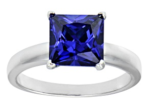 4.50ct Purple Cubic Zirconia Rhodium Over Sterling Silver Solitaire Ring
