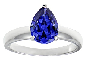 3.06ct Blue Cubic Zirconia Rhodium Over Sterling Silver Solitaire Ring