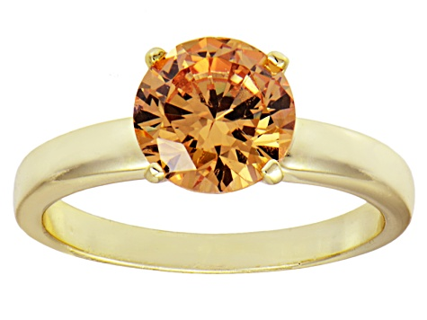 3.40ct Cubic Zirconia 18k Yellow Gold Over Sterling Silver Solitaire Ring