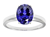4.40ct Blue Cubic Zirconia Rhodium Over Sterling Silver Solitaire Ring