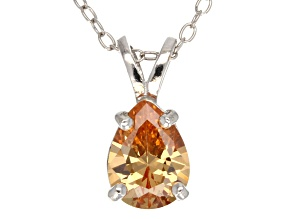 """1.85ct Cubic Zirconia Sterling Silver Solitaire Pendant With 18"""" Chain"""