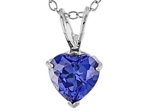 1.92ct Blue Cubic Zirconia Sterling Silver Solitaire Pendant With 18