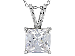 7.01ct Cubic Zirconia Sterling Silver Solitaire Pendant With 18