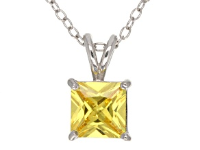 2.10ct Yellow Cubic Zirconia Sterling Silver Solitaire Pendant With 18