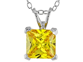 3.33ct Yellow Cubic Zirconia Sterling Silver Solitaire Pendant With 18