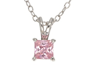 .66ct Pink Cubic Zirconia Sterling Silver Solitaire Pendant With 18