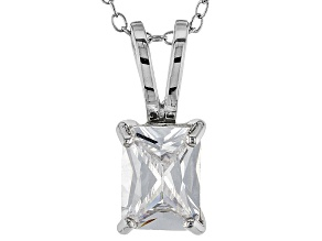 2.95ct Cubic Zirconia Sterling Silver Solitaire Pendant With 18
