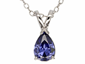 1.21ct Blue Cubic Zirconia Sterling Silver Solitaire Pendant With 18