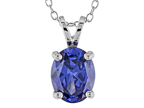 3.16ct Blue Cubic Zirconia Sterling Silver Solitaire Pendant With 18