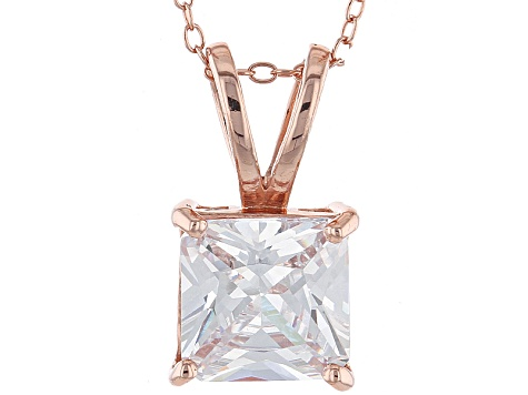 7.01ct Cubic Zirconia 18k Rose Gold Over Sterling Silver Pendant With 18
