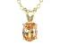 "1.30ct Cubic Zirconia 18k Yellow Gold Over Sterling Silver Pendant With 18"" Chain"