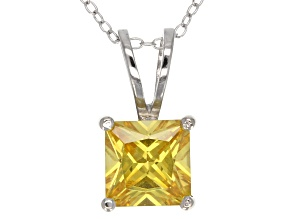 5.12ct Yellow Cubic Zirconia Sterling Silver Solitaire Pendant With 18