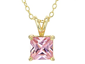 2.10ct Cubic Zirconia 18k Yellow Gold Over Sterling Silver Pendant With 18