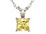 1.21ctw Yellow Cubic Zirconia Sterling Silver Solitaire Pendant With 18