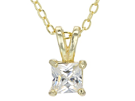 ".66ct Cubic Zirconia 18k Yellow Gold Over Sterling Silver Pendant With 18"" Chain"