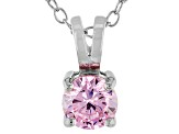 .79ct Pink Cubic Zirconia Sterling Silver Solitaire Pendant With 18