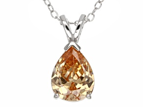 2.98ct Cubic Zirconia Sterling Silver Solitaire Pendant With 18