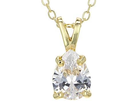 1.85ct Cubic Zirconia 18k Yellow Gold Over Sterling Silver Pendant With 18