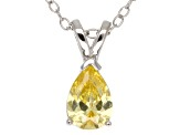 1.21ct Yellow Cubic Zirconia Sterling Silver Solitaire Pendant With 18