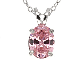 2.06ct Pink Cubic Zirconia Sterling Silver Solitaire Pendant With 18