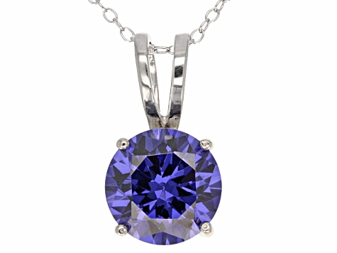 6.58ct Blue Cubic Zirconia Sterling Silver Solitaire Pendant With 18