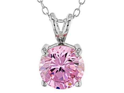 Sterling Silver Pendant w//Chain Necklace CZ Pink Sapphire Cubic Zirconia