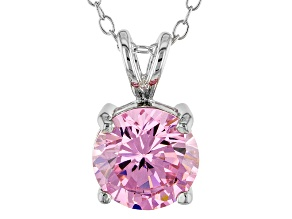 3.46ct Pink Cubic Zirconia Sterling Silver Solitaire Pendant With 18