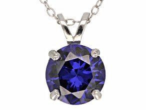 4.68ct Blue Cubic Zirconia Sterling Silver Solitaire Pendant With 18