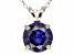 "4.68ct Blue Cubic Zirconia Sterling Silver Solitaire Pendant With 18"" Chain"