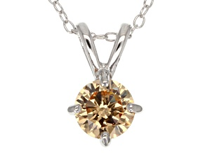1.43ct Cubic Zirconia Sterling Silver Solitaire Pendant With 18