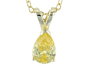1.21ct Cubic Zirconia 18k Yellow Gold Over Sterling Silver Pendant With 18