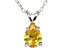 """1.85ct Yellow Cubic Zirconia Sterling Silver Solitaire Pendant With 18"""" Chain"""