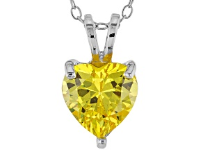 2.90ct Yellow Cubic Zirconia Sterling Silver Solitaire Pendant With 18
