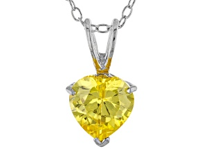1.92ct Yellow Cubic Zirconia Sterling Silver Solitaire Pendant With 18