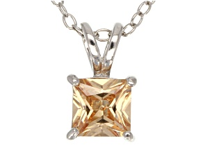 """1.21ct Cubic Zirconia Sterling Silver Solitaire Pendant With 18"""" Chain"""