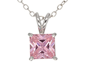 2.10ct Pink Cubic Zirconia Sterling Silver Solitaire Pendant With 18