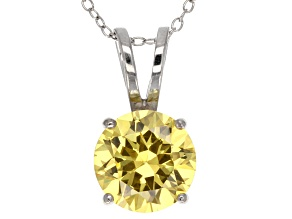 6.58ct Yellow Cubic Zirconia Sterling Silver Solitaire Pendant With 18