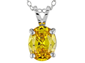3.16ct Yellow Cubic Zirconia Sterling Silver Solitaire Pendant With 18