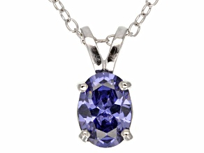 1.30ct Blue Cubic Zirconia Sterling Silver Solitaire Pendant With 18