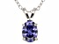 "1.30ct Blue Cubic Zirconia Sterling Silver Solitaire Pendant With 18"" Chain"