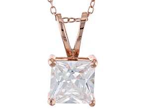 5.12ct Cubic Zirconia 18k Rose Gold Over Sterling Silver Pendant With 18