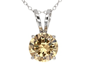 6.58ct Cubic Zirconia Sterling Silver Solitaire Pendant With 18