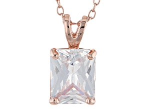 4.46ct Cubic Zirconia 18k Rose Gold Over Sterling Silver Pendant With 18