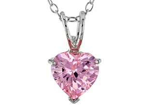 1.92ct Pink Cubic Zirconia Sterling Silver Solitaire Pendant With 18