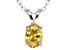 "1.30ct Yellow Cubic Zirconia Sterling Silver Solitaire Pendant With 18"" Chain"
