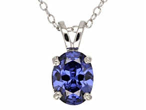 2.06ct Blue Cubic Zirconia Sterling Silver Solitaire Pendant With 18