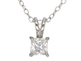 .66ct Cubic Zirconia Sterling Silver Solitaire Pendant With 18