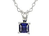 .66ct Blue Cubic Zirconia Sterling Silver Solitaire Pendant With 18