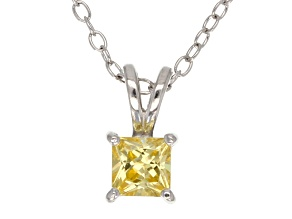 .66ct Yellow Cubic Zirconia Sterling Silver Solitaire Pendant With 18